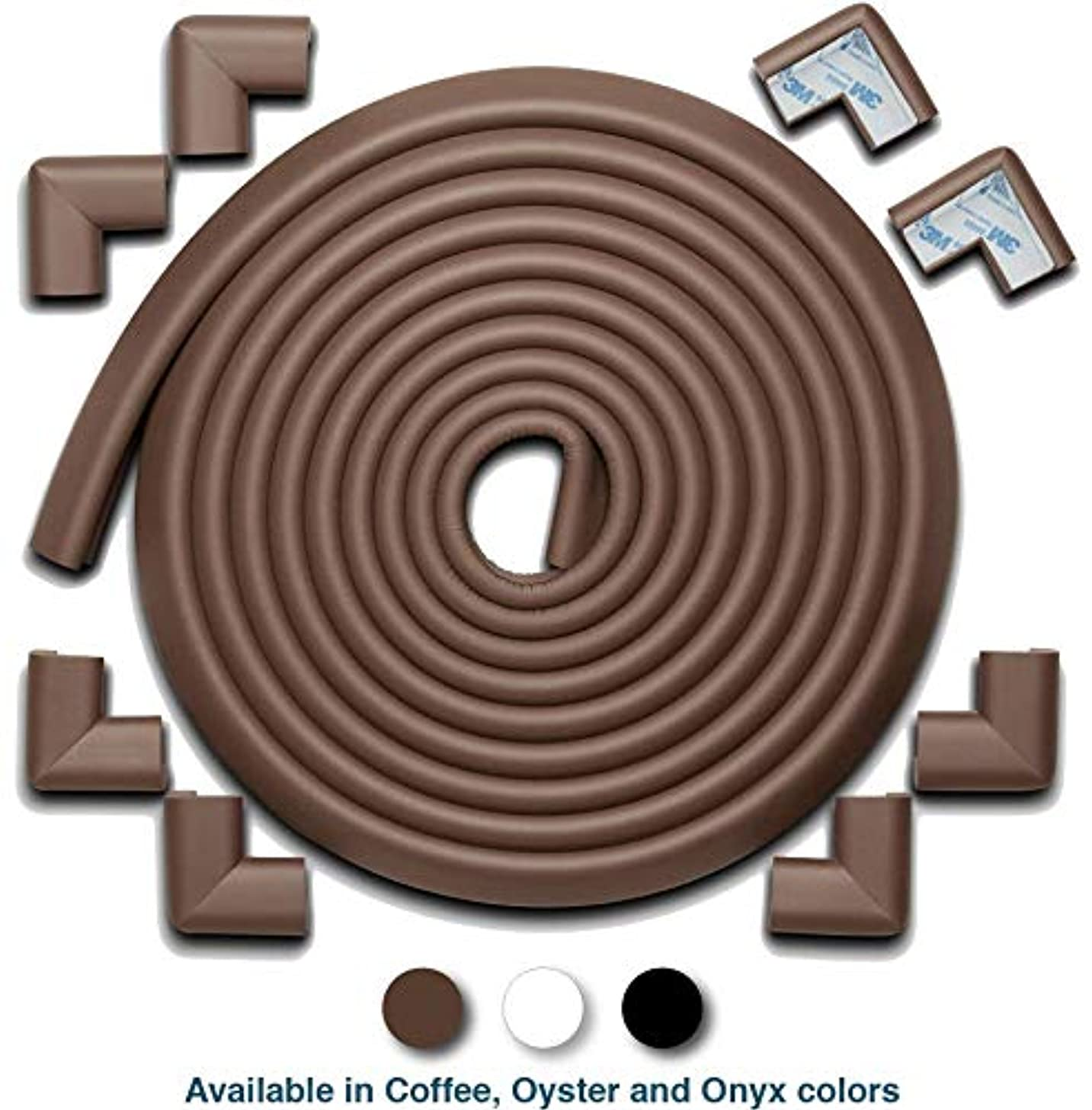Roving Cove   Baby Proofing Edge & Corner Guards   Safe Edge & Corner Cushion   Child Safety Furniture Bumper   Table Protectors   Pre-Taped Corners   20.4 ft [18 ft Edge + 8 Corners]   Coffee Brown