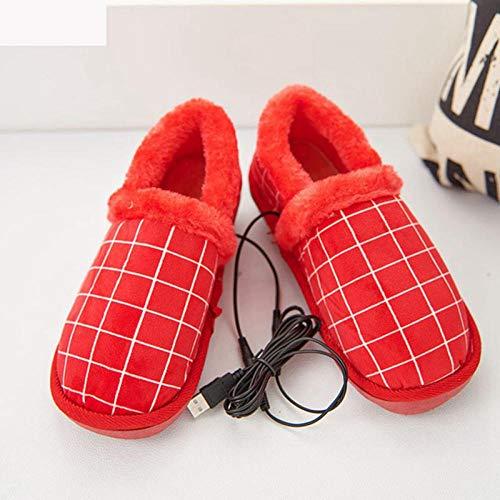 BDN Original Hoch Hausschuhe für Ofen & Mikrowelle,Plüsch beheizte Hausschuhe, Winterbaumwollschuhe, wiederaufladbare USB-Warmschuhe, Fußwärmer für Männer und Frauen-rot_38-39 (270)