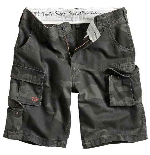 Surplus Raw Vintage Herren Cargo Trooper Shorts, Blackcamo, 7XL