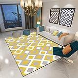 Alfombra Antiacaros Salon amarillo Alfombra de estilo moderno amarillo gris patrón cuadrado alfombra suave antiácaros Alfombras De Habitacion Pequeñas Los 80X120CM Alfombra Lavable Infantil 2ft 7.5''X