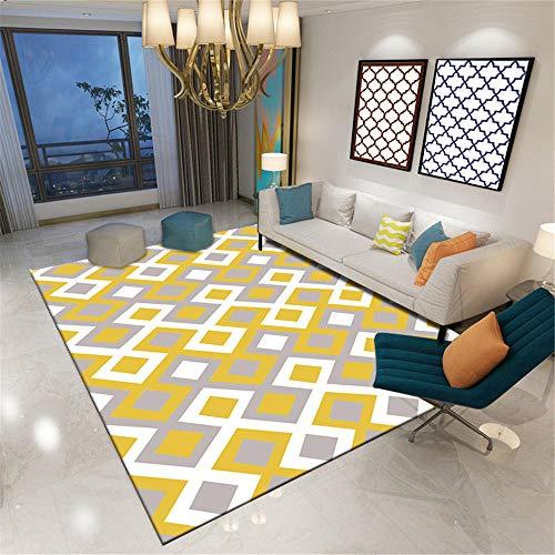 Alfombras Exterior amarillo Alfombra de estilo moderno amarillo gris patrón cuadrado alfombra suave antiácaros Alfombras Entrada Casa El 180X280CM Alfombras Infantiles Lavables En Lavadora 5ft 10.9''X