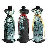 3pcs Couvercle de Bouteille de vin de Noël, crâne Image Bouteille de vin Sacs-Cadeaux décorations de fête