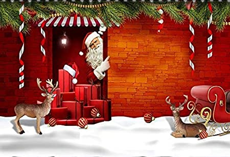 15x10ft Photography Background Vinyl Christmas Theme Snow Scene Santa Claus Pattern Backdrop Studio Props Merry Christmas