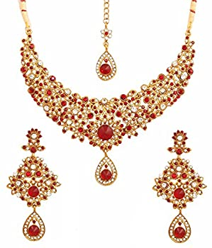 Touchstone Indian Hollywood Maroon White Classic Wedding wear Jewelry Necklace Set in Antique Gold Tone