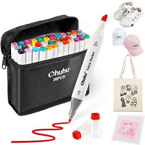 Textil Stoff Stift, Ohuhu 36 Farben Dual Tip Stoffstifte, wasserbasiert und ungiftig für DIY Weihnachtskostüme, T-Shirt, Schuhe, Kleidung, Taschen