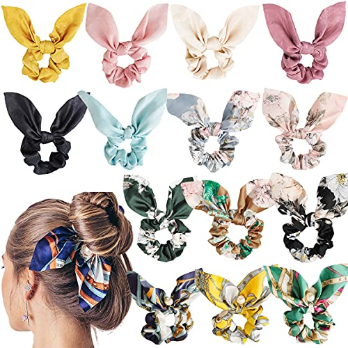 14 PCS Bow Scrunchies for Hair, Satin Silk Hair Scrunchies with Bow Rabbit Bunny Ear Bowknot Scrunchie Bobbles Hair Bands Elastic Hair Ties Soft Elegant Ponytail Holder for Women Girls Accessories