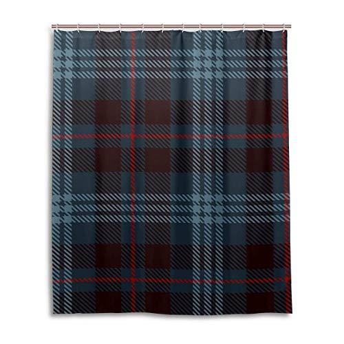 Polyester voor elke dag gebruik douchegordijn met haken 60x72 inch Tartan patroon badkamer Set waterdichte bladeren stof
