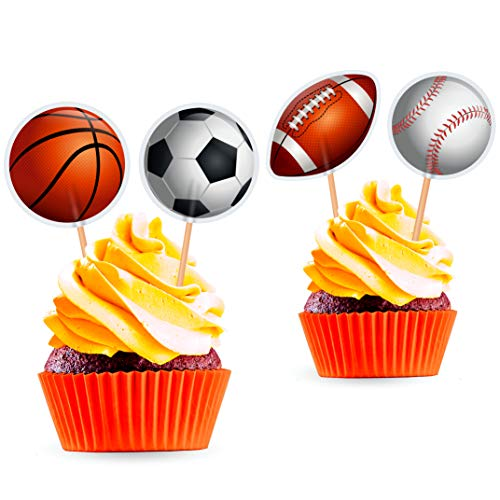 Sports Cupcake Toppers - Boys Birthday Party Decorations Supplies - Soccer Football Basketball Baseball - 24 PCS