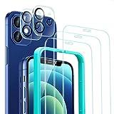 ESR 5 Pack Protector de Pantalla Compatible con iPhone 12 6.1 Pulgada,Contiene 3 Pack Cristal Vidrio Templado y 2 Pack Protector de Lente de cámara, Doble Protección,Marco de Posicionamiento