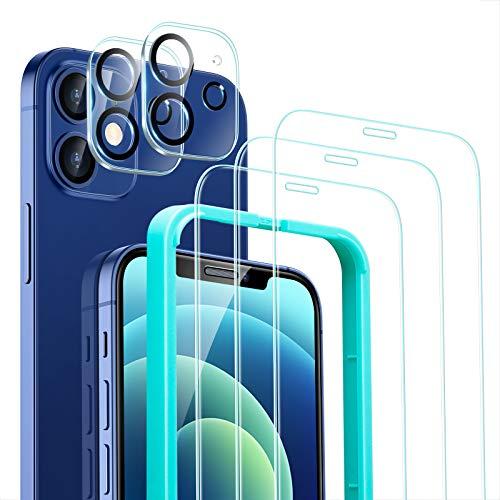 ESR Set di Protezioni per Lo Schermo e l'Obiettivo della Fotocamera, Compatibile con iPhone 12, 3 Protezioni per Lo Schermo e 2 Protezioni per Lenti, Vetro Resistente ai Graffi