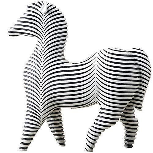 QIBAJIU Skulpturen Tierskulptur Verziert Schwarzweiss-Abstrakte Kunstdekoration