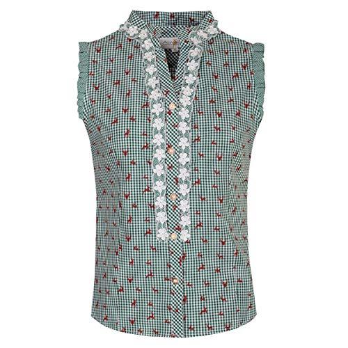 Almsach Damen Trachten-Mode Trachtenbluse Bobi in Dunkelgrün traditionell, Größe:36, Farbe:Dunkelgrün
