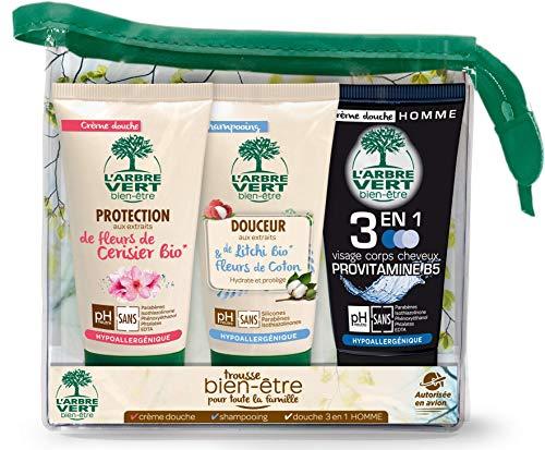 L'arbre vert Trousse de Voyage Hygiène Beauté Bien-Être 3 x 75 ml