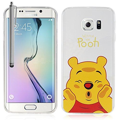 VComp-Shop - Cover Trasparente in Silicone e TPU per Samsung Galaxy S6 Edge SM-G925F + Pennino Capacitivo, Motivo: Winnie The Pooh