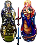 Inflatable Punching Bag & Foam Sword Set | One 48' Tall Double Side Bop Bag (Knight on One Side & Dragon on Reverse Side) and Two Soft Swords | by Imagenius Toys
