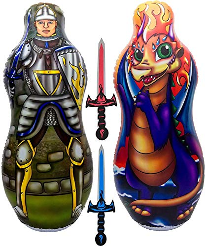 """Inflatable Punching Bag & Foam Sword Set   One 48"""" Tall Double Side Bop Bag (Knight on One Side & Dragon on Reverse Side) and Two Soft Swords   by Imagenius Toys"""