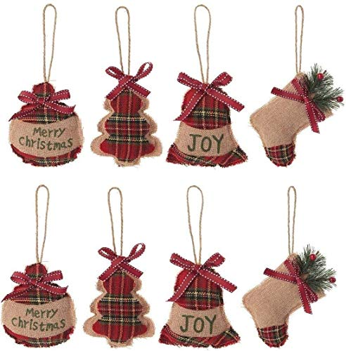 2020 Latest 8Pcs Burlap Christmas Tree Hanging Pendant Linen Christmas Tree Ornaments Set with Bag Tree Bell Sock Patterns Xmas Stocking Hanging Decor for Home Party Festival