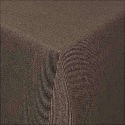 TEXMAXX®Premium Gartentischdecke Tischdecke Garten eckig Maßanfertigung - 110 x 110 cm in Braun - Tischdecken im Leinen Design - Lotuseffekt mit Fleckschutz