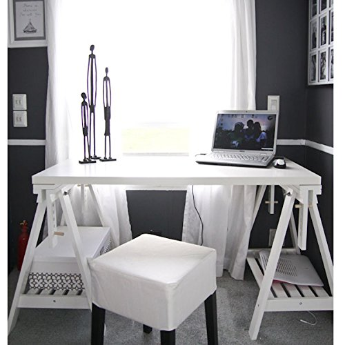 """Ikea Linnmon White Desk Table 47x23"""" with 2 Trestle Shelf Legs Height and Angle Adjustable, Drawing Table"""