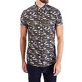 Burton Menswear London Camo Print Camisa Casual, Verde, S para Hombre