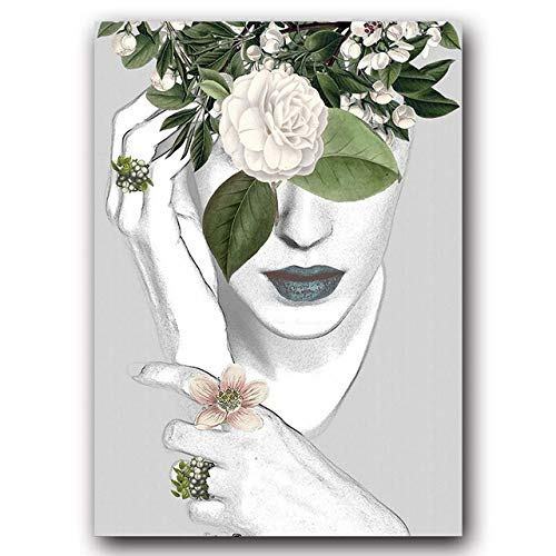 LiMengQi2 Moderno nórdico Lienzo Pintura Arte impresión Pared Cartel Moda Mujer Abstracto Chica Pared Cuadros Arte para Dormitorio Sala de Estar (No Frame)