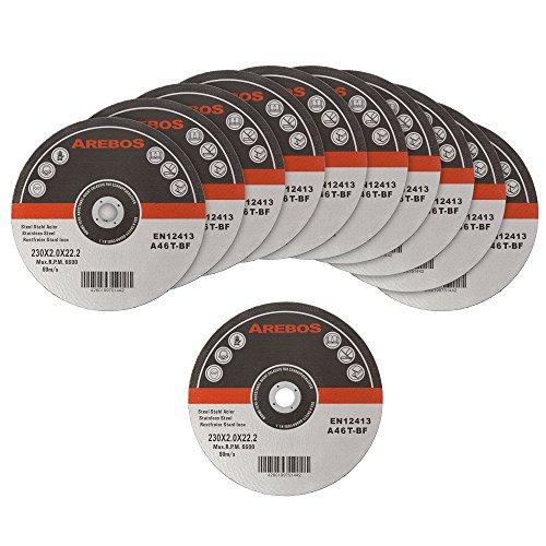 Arebos Trennscheiben für Metall INOX (230 x 2 mm, 25 Stück) / EN 12413 / MPA Z-14000/16