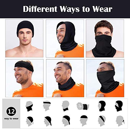 Hicarer 8 Pieces Summer Face Cover Breathable Lightweight Gaiter Thin Neck Gaiter UV Protection Elastic Face Scarf for Outdoor Driving Fishing (Black)