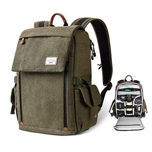 Zecti Camera Backpack Waterproof Canvas Professional Camera Bag for Laptop and Other Digital Camera Accessories with Rain Cover-Green