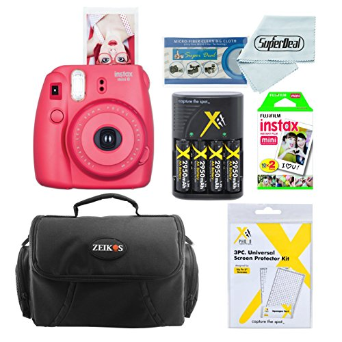 Fujifilm Instax Mini 8 Instant Film Camera With Fujifilm Instax Mini Instant Film Twin Pack (20 Sheets), Compact Bag Case, Batteries and Battery Charger (Raspberry)