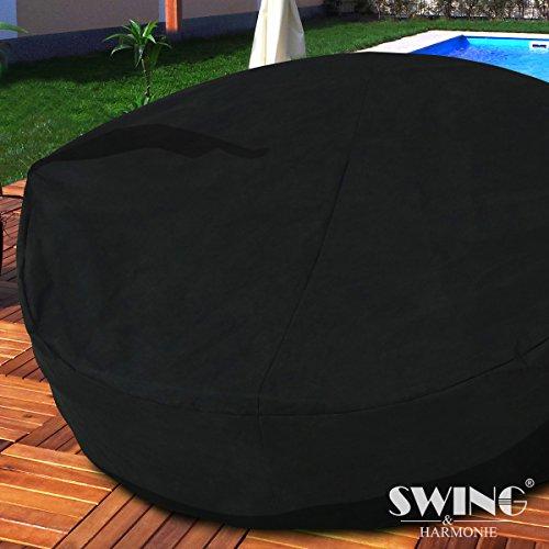 Polyrattan Sonneninsel mit LED Beleuchtung + Solarmodul inklusive Abdeckcover Rattan Lounge Sunbed Liege Insel mit Regencover Sonnenliege Gartenliege (180cm, Grau) - 2