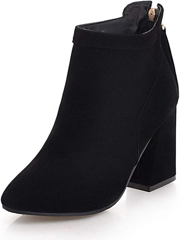 GIY Women's Winter Warm High Heels Ankle Boots Fashion Side Zipper Block Chunky Heels Ladies Short Boots