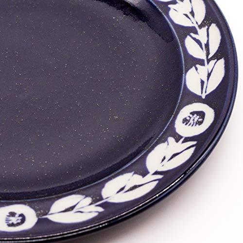 萬古焼 藍窯 モーニングプレート 皿 直径約21cm 「カメリア」 白抜きネイビー AGM-200082