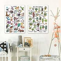 ZYQYQ 装飾画ウォールアートABCポスター動物キャンバス絵画植物プリント鳥ポスタースペースアルファベットプリント保育園の写真赤ちゃんキッズルームの装飾50x80cmx2額装なし