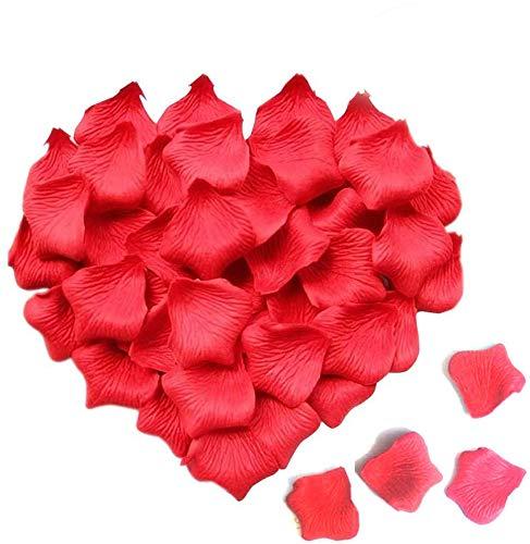 Ealicere 3000 morceaux de pétales de roses rouges, pétales de roses, pétales artificiels en soie rosePétales artificiels pour décoration pour Saint Valentin