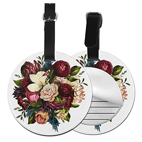 Etiquetas para Equipaje Bolso ID Tag Viaje Bolso De La Maleta Identifier Las Etiquetas Maletas Viaje Luggage ID Tag para Maletas Equipaje Melocotón Granate Crema Floral Floral