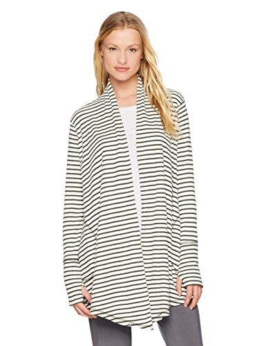 Amazon Brand - Mae Women's Loungewear Drapey Cardigan, Forest Night Stripe, S