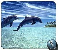 海のマウスパッドで陽気なイルカ、ゲーミング長方形のマウスパッド
