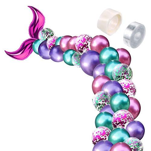 Globos de cola de sirena, guirnalda de globos de látex, 88 piezas, conjunto para bebé, ducha, sirena, decoración de fiesta de cumpleaños
