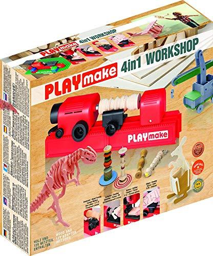 PLAYMAKE - 4in1 Workshop - Werkzeug Kinder - Holz-Bearbeitung Werken Basteln