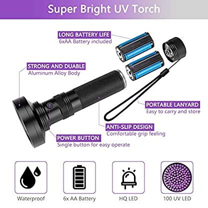 Coquimbo UV Torch 100 LED, Black Light UV Flashlight Ultraviolet Torch Pet Urine Stain Detector, Super Bright Blacklight Detector for Pet Stains, Bed Bug, Carpet, Floor (6 x AA Batteries Included) 3