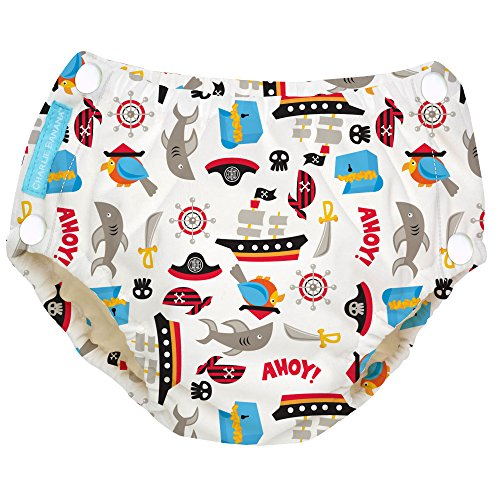 Price comparison product image Charlie Banana Baby Easy Snaps Reusable and Washable Swim Diaper for Boys or Girls,  Pirate