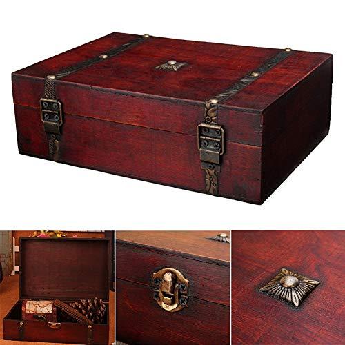 CXJC Organizador rectangular hecho a mano con cerradura de metal antiguo caja de almacenamiento de madera utilizada para almacenar necesidades diarias de joyería almacenamiento 1 pieza
