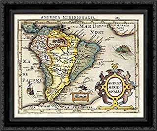 Map of South America 24x20 Black Ornate Wood Framed Canvas Art by Mercator, Gerard