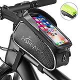 FISHOAKY Sacoche Velo, Support Téléphone Vélo Etanche, Sacoche Vélo Guidon Cadre avec Housse de Pluie Ecran Tactile Transparent pour Smartphone sous 6,5