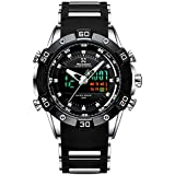 Youwen Men Watch Sports Watch Men's Watches Chronograph Military Watch Waterproof FashionWristWatch LED Digital and Quartz Analog Dual Movement with Rubber Band