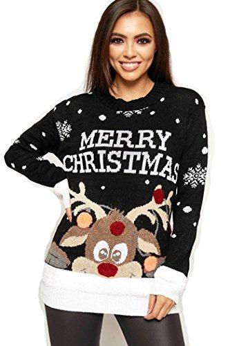 Crazy Girls Verrückte Mädchen Frauen Festliche Neuheit Frohe Weihnachten Gestrickte Pullover Damen Weihnachtsbaum Vintage Warme POM POM Rentier Jumper EU 36-54 (Schwarz-Pom Pom Merry Christmas, XXL)