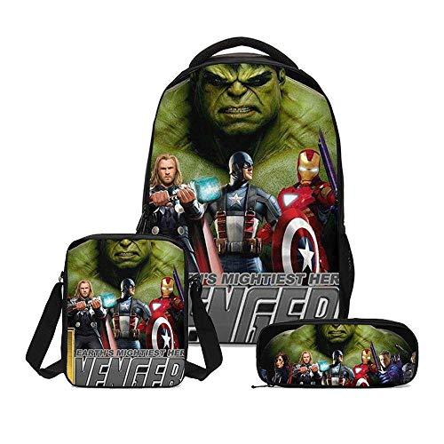 RLJqwad Kinderrugzak driedelig pak 3D-printen Iron Man Amerikaanse kapitein rugzak Kinderschooltas Primaire schoolrugzak