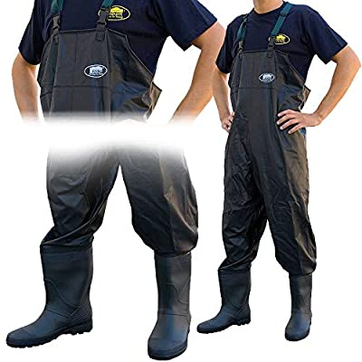 Lineaeffe Black All Weather PVC Waterproof Carp Coarse Fishing Chest Waders/Wellies in Sizes 6 7 8 9 10 11 & 12 by Lineaeffe