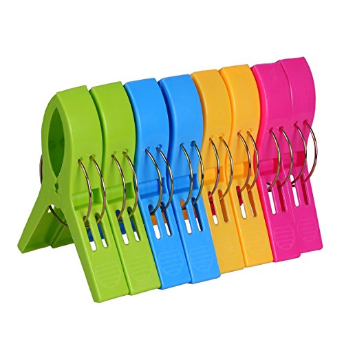 ECROCY 8 Pack Beach Towel Clips in Bright Colors - Jumbo Size Beach Chair Towel Clips - Keep Your Towel from Blowing Away,Clothes Lines