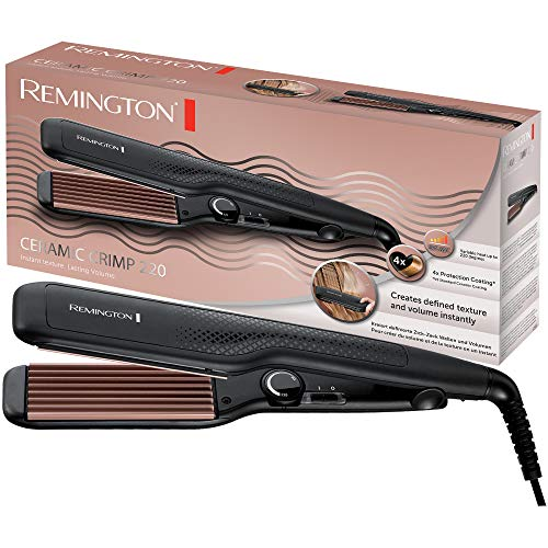 Remington S3580 Piastra per Capelli Ceramic Crimp 220, Rivestimento Antistatico in Ceramica e Tormalina, Nero e Oro
